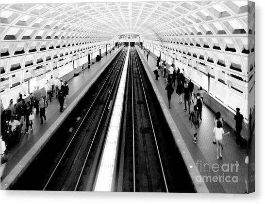 Trains Canvas Print - Gallery Place Metro by Thomas Marchessault