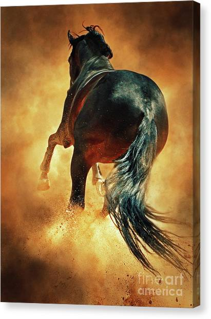 Galloping Horse In Fire Dust Canvas Print