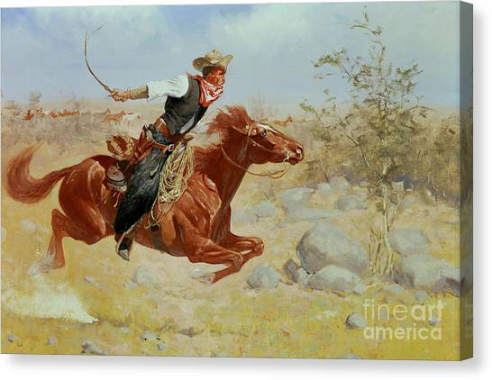 War Horse Canvas Print - Galloping Horseman by Frederic Remington