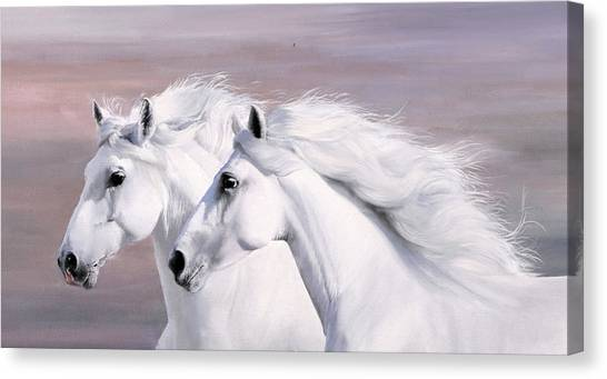 White Horse Canvas Print - Galoppo Nel Vento by Guido Borelli