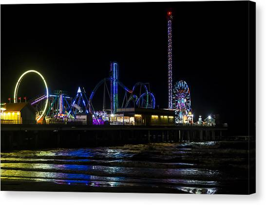 Galveston Island Historic Pleasure Pier At Night Canvas Print