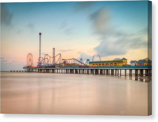 Galveston Pleasure Pier Sunset Canvas Print