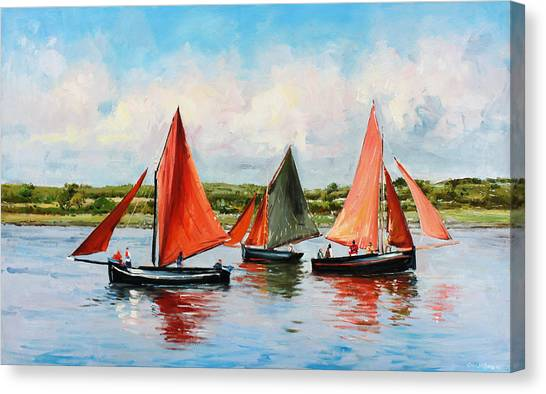 Boats Canvas Print - Galway Hookers by Conor McGuire