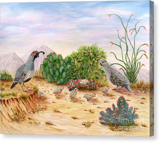 Gambel Quails Day In The Life Canvas Print