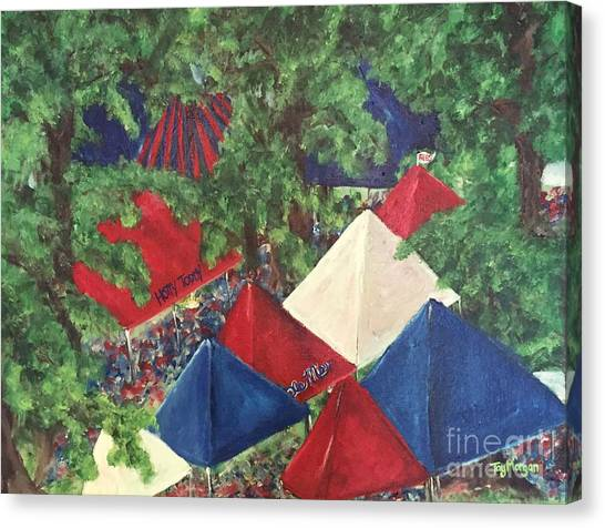 University Of Mississippi Ole Miss Canvas Print - Game Day In The Grove by Tay Cossar Morgan