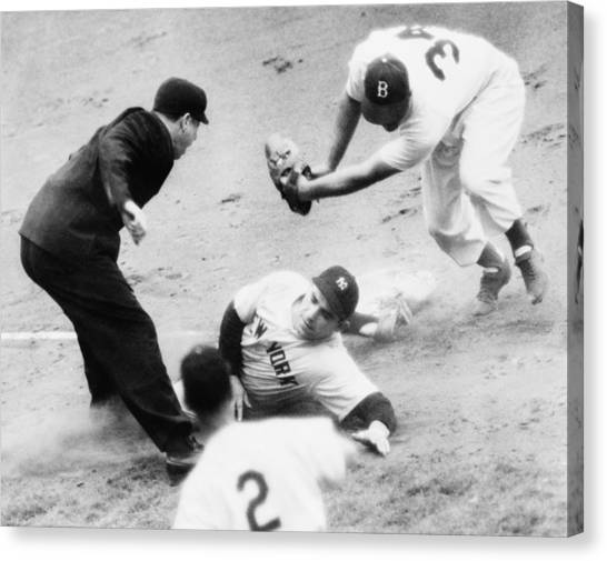 Yogi Canvas Print - Game Four Of The 1949 World Series by Everett