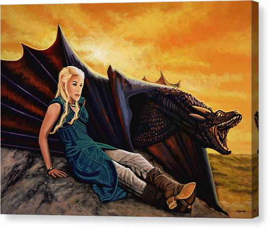 Dragons Canvas Print - Game Of Thrones Painting by Paul Meijering