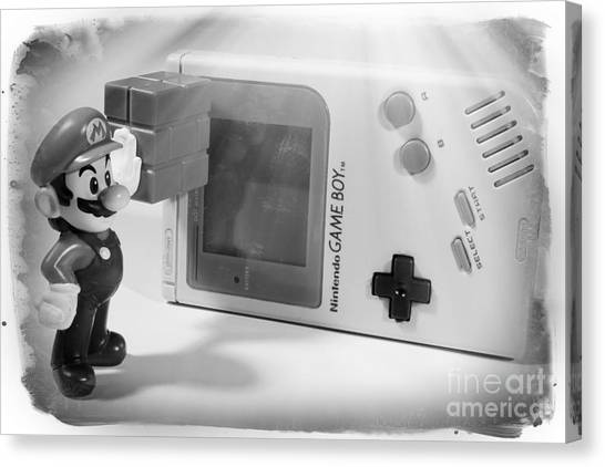 Super Mario Canvas Print - Gameboy First Edition Gray Handheld System by Stefano Senise