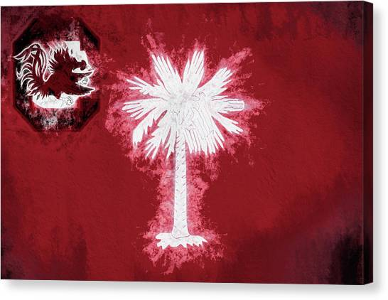 University Of South Carolina Canvas Print - Gamecocks South Carolina State Flag by JC Findley