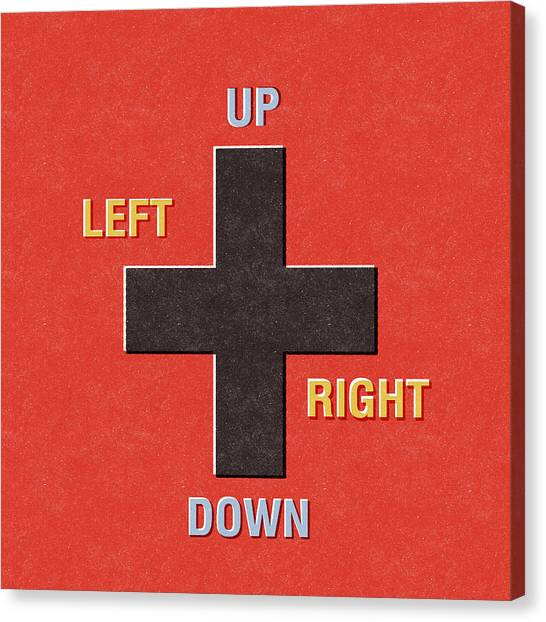 Button Canvas Print - Gamer Directions by Linda Woods