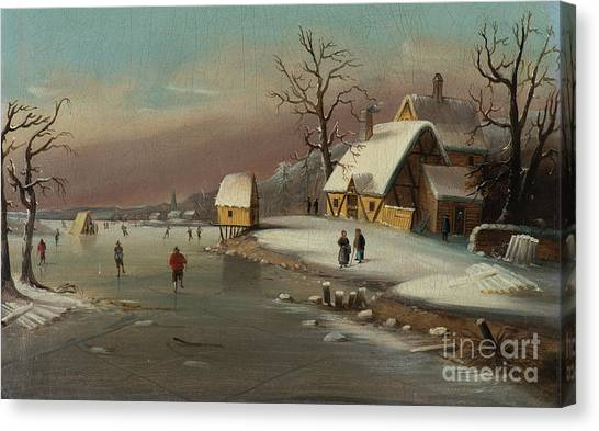 Snow Bank Canvas Print - Games On Ice by William Matthew Prior