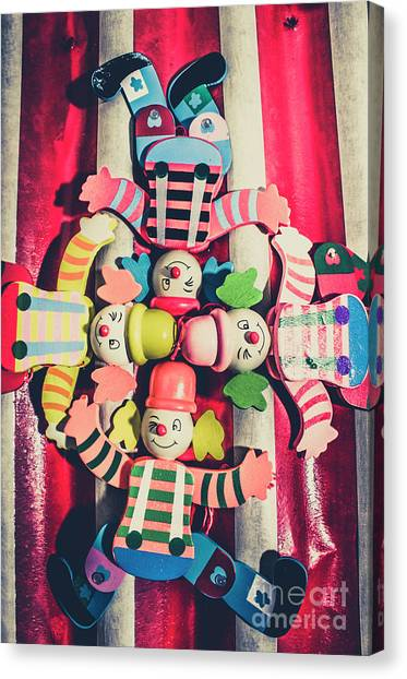 Clown Art Canvas Print - Games Room Of Wooden Circus Play by Jorgo Photography - Wall Art Gallery