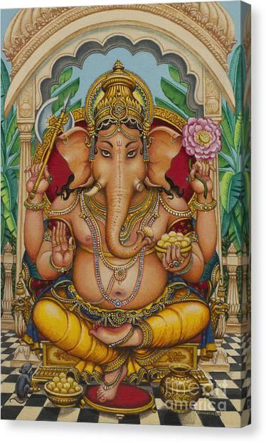 Banana Tree Canvas Print - Ganapati Darshan by Vrindavan Das