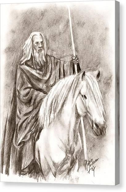 Gandalf With Shadowfax Canvas Print by Maren Jeskanen