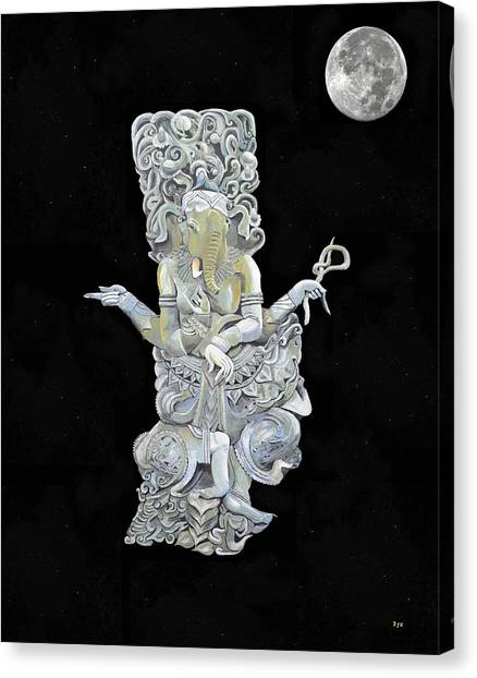 Canvas Print featuring the mixed media Ganesh With Moon The Hindu Elephant God. by Eric Kempson