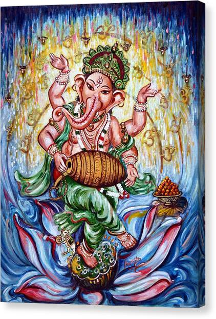 Ganesha Dancing And Playing Mridang Canvas Print