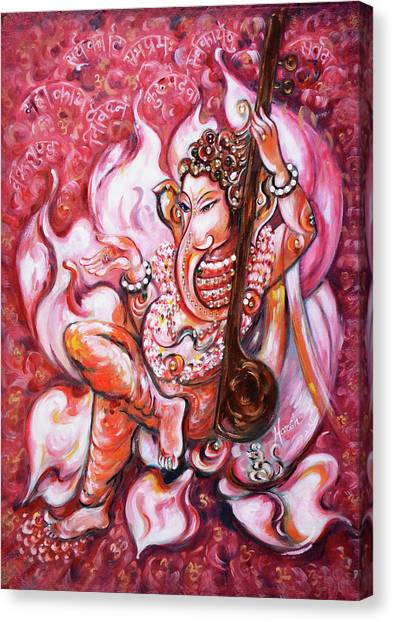 Ganesha - Enjoying Music Canvas Print