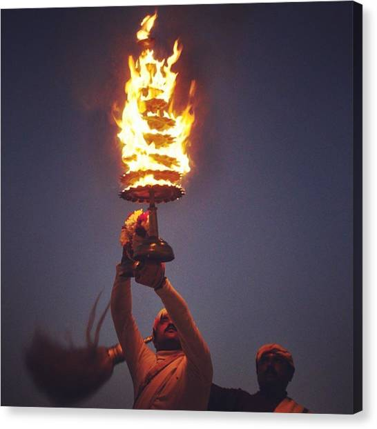 Ganges Canvas Print - Ganga Aarti At #allahabad  #india by Gaurav Dhup