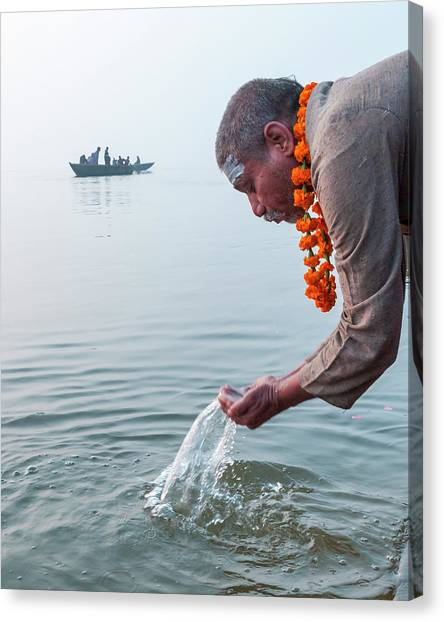 Ganga Pooja, Varanasi, India Canvas Print