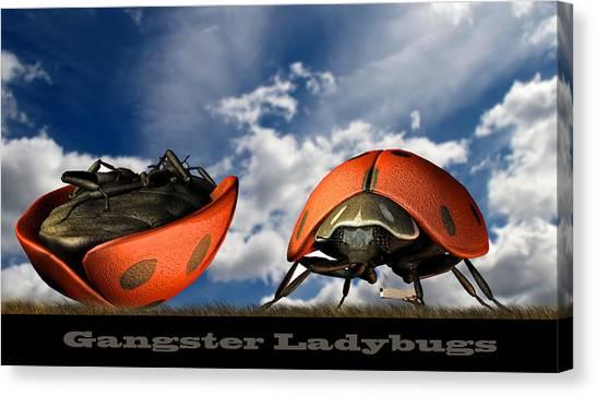 Ladybugs Canvas Print - Gangster Ladybugs Nature Gone Mad by Bob Orsillo