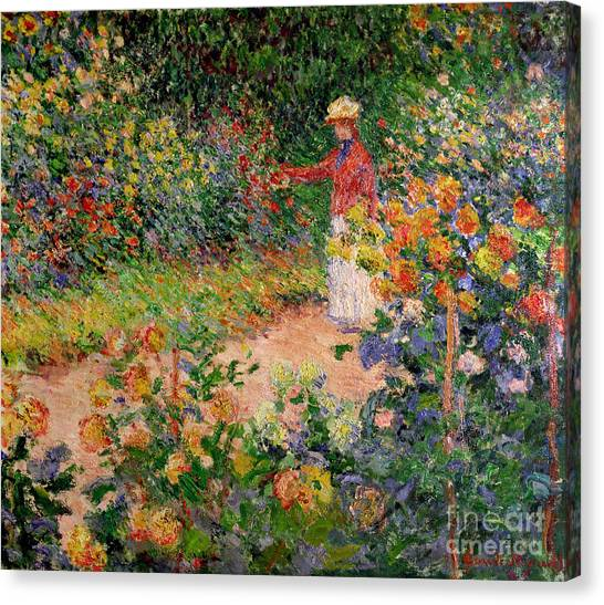 Painters Canvas Print - Garden At Giverny by Claude Monet