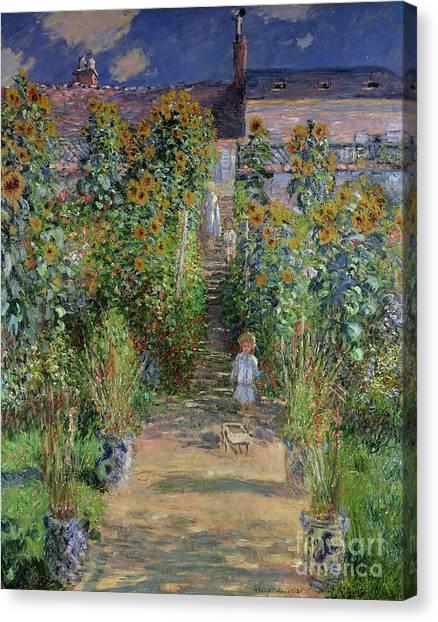 Jardin Canvas Print - Garden At Vetheuil by Claude Monet