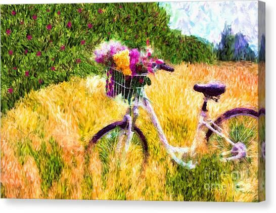 Garden Bicycle Print Canvas Print
