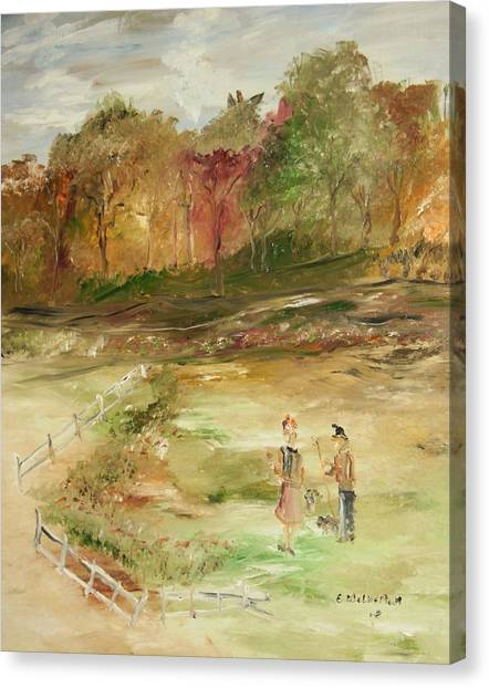 Garden By The Fence Canvas Print by Edward Wolverton