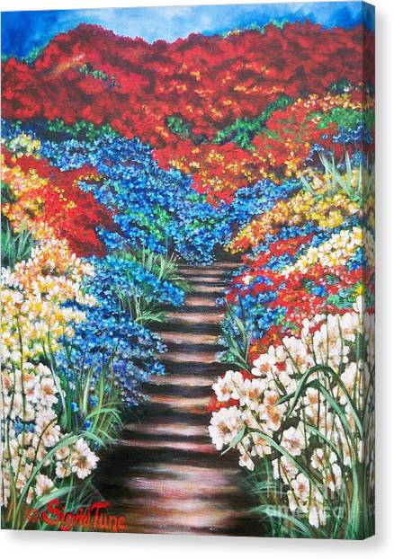 Red White And Blue Garden Cascade.               Flying Lamb Productions  Canvas Print