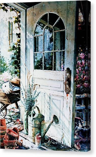 Wind Chimes Canvas Print - Garden Chores by Hanne Lore Koehler