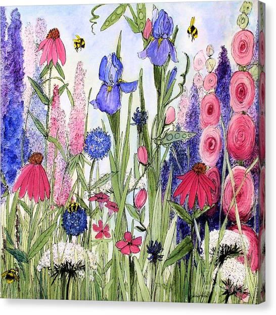 Garden Cottage Iris And Hollyhock Canvas Print