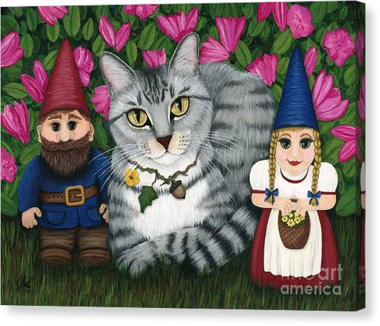 Garden Friends - Tabby Cat And Gnomes Canvas Print
