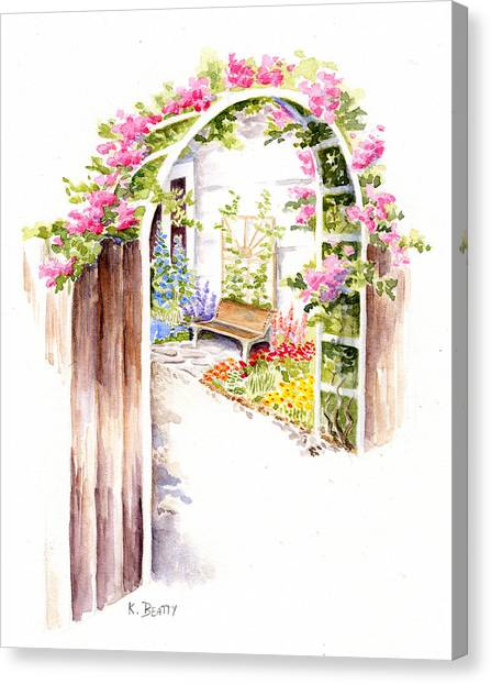 Garden Gate Botanical Landscape Canvas Print