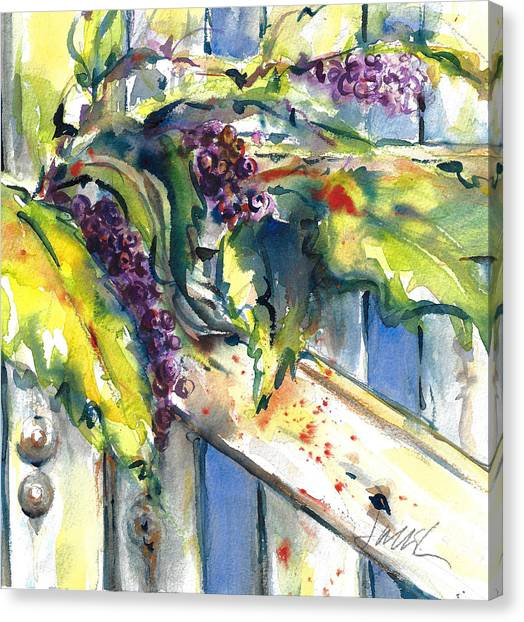 Garden Gate In Fall With Poke Berries  Canvas Print
