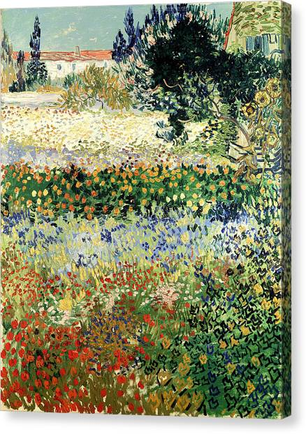 Canvas Print featuring the painting Garden In Bloom by Van Gogh