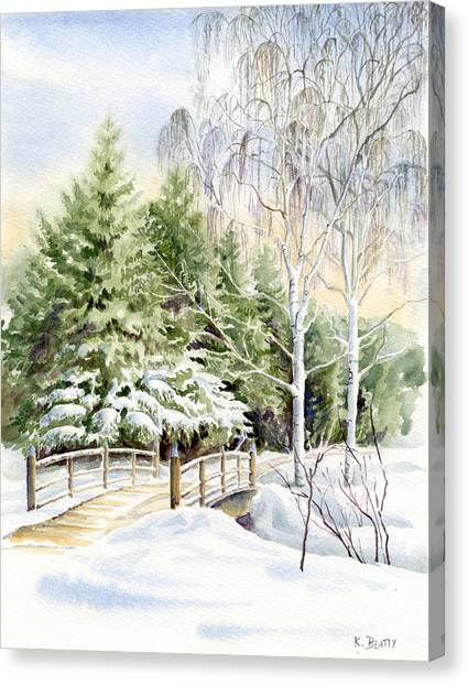 Garden Landscape Winter Canvas Print