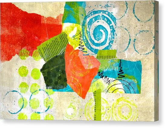 Torn Paper Collage Canvas Print - Garden by Nancy Merkle