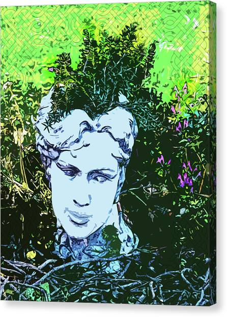Garden Nymph Head Planter Canvas Print