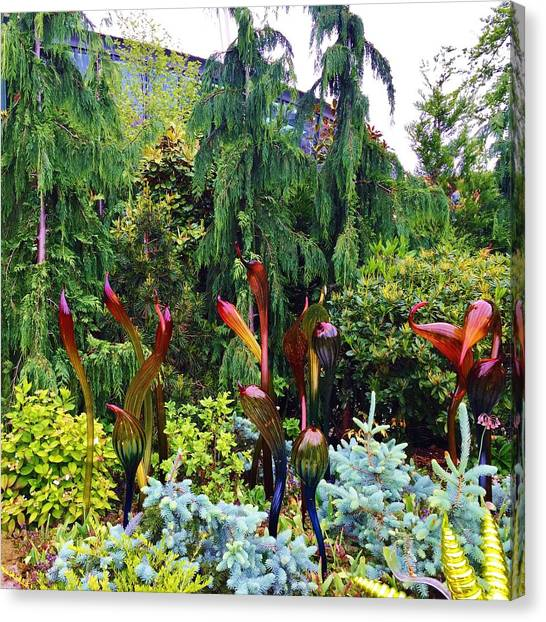Blown Glass Garden Art Canvas Print   Garden Of Glass By Sandra M
