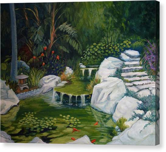 Canvas Print featuring the painting Garden Retreat by Jeanette Jarmon