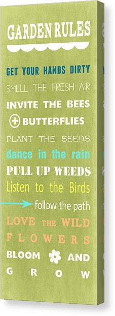 Books Canvas Print - Garden Rules by Linda Woods