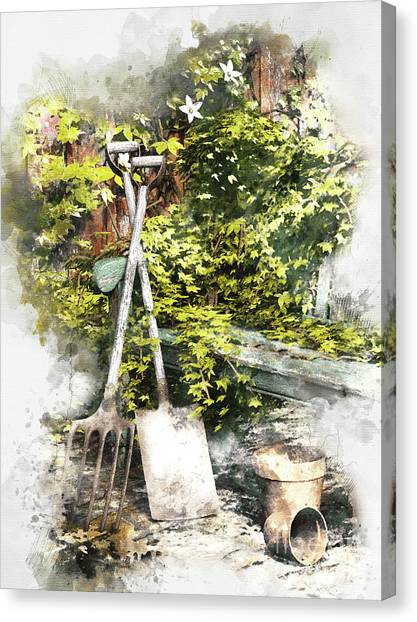 Shovels Canvas Print - Garden Seat by Shanina Conway