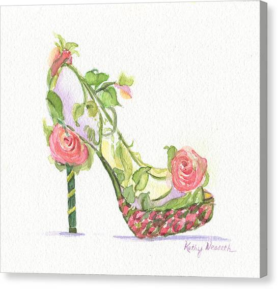Garden Shoe Canvas Print by Kathy Nesseth