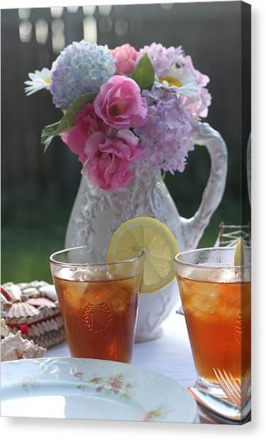 Iced Tea Canvas Print - Garden Table by Sherry Hahn