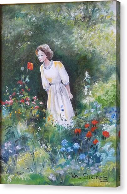 Garden Walk A Canvas Print by Val Stokes