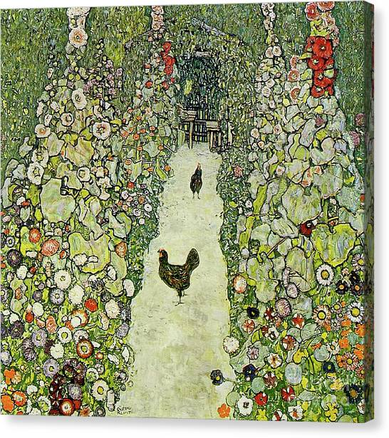 Roosters Canvas Print - Garden With Chickens by Gustav Klimt
