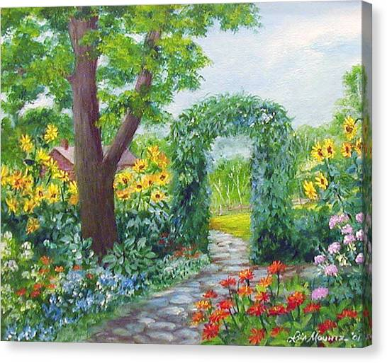 Garden With Sunflowers Canvas Print by Lois Mountz