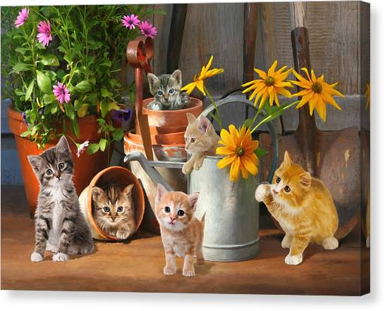Gardening Kittens Canvas Print
