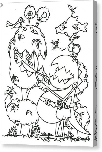 Gardening Monster Canvas Print