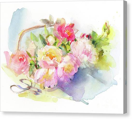 Rose In Bloom Canvas Print - Gardening Still Life by John Keeling
